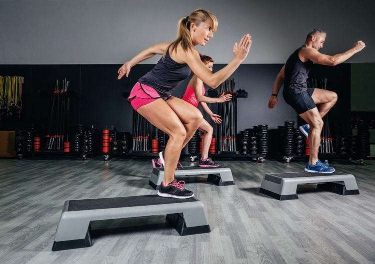 aerobic exercise with steppers