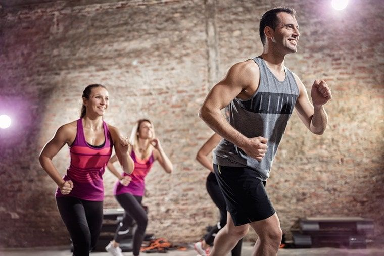 doing aerobic exercise with music