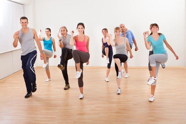 doing aerobics exercises