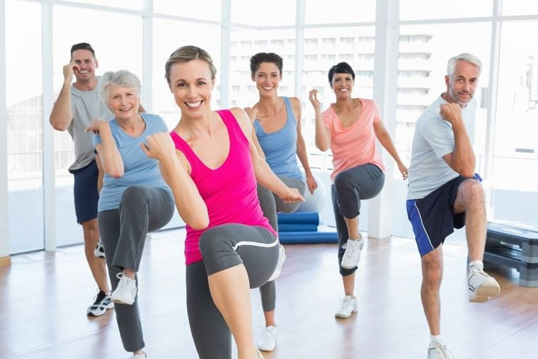 group doing aerobic exercise